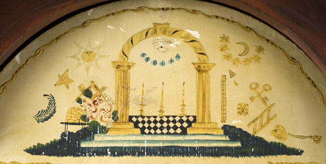 Antique Tall Clock, Paint Decorated, Silas Hoadley Movement Outstanding decorated case of a form related to those housing movements by James Cole, Rochester, New Hampshire. We are attributing the case to the Rochester area…not to Cole, face detail 1