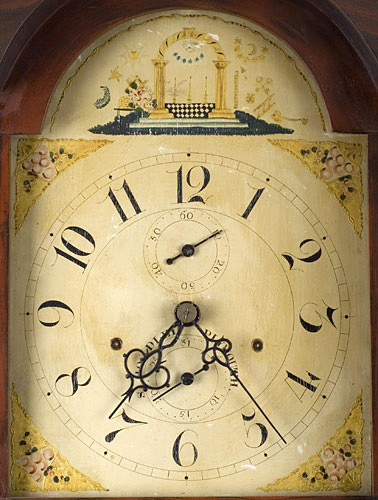 Antique Tall Clock, Paint Decorated, Silas Hoadley Movement Outstanding decorated case of a form related to those housing movements by James Cole, Rochester, New Hampshire. We are attributing the case to the Rochester area…not to Cole, face detail 2