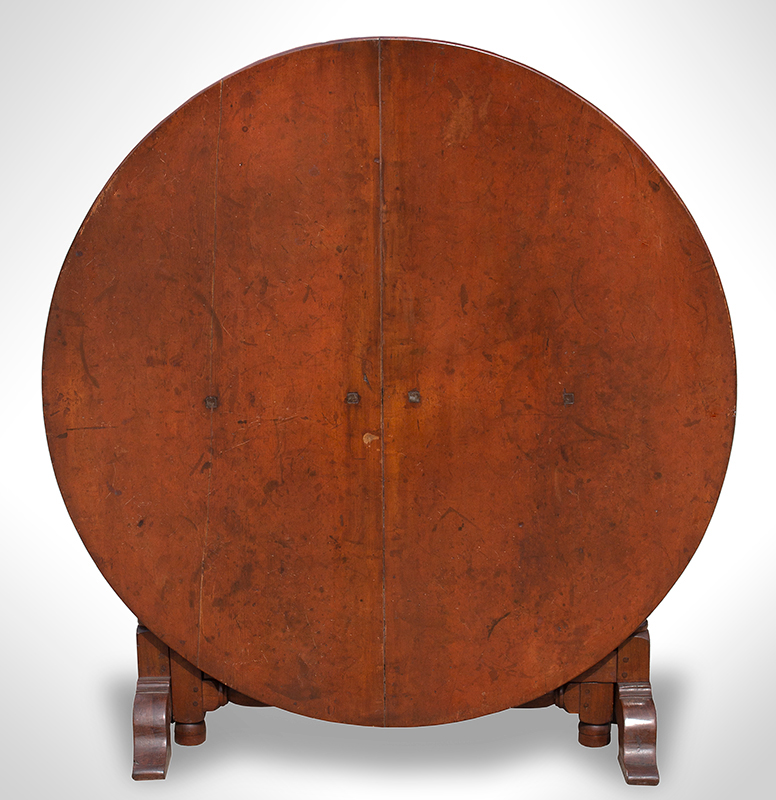 Tuckaway Table, Large Dining Size, Robust Turnings, Gateleg, Arched Shoe Feet Possibly Hudson River Valley, entire view 2