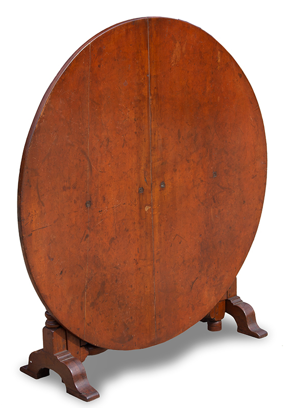 Tuckaway Table, Large Dining Size, Robust Turnings, Gateleg, Arched Shoe Feet Possibly Hudson River Valley, entire view 3