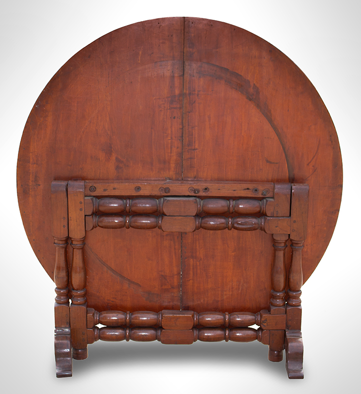 Tuckaway Table, Large Dining Size, Robust Turnings, Gateleg, Arched Shoe Feet Possibly Hudson River Valley, entire view 4