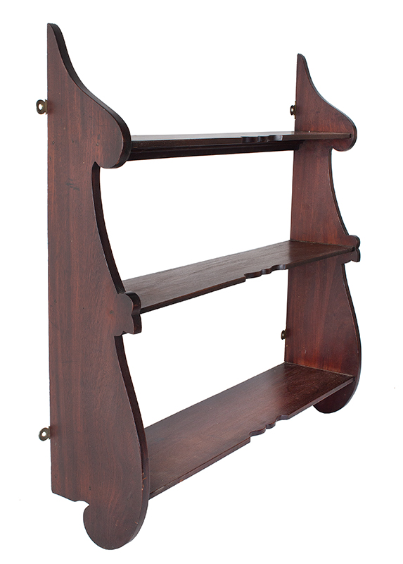A Fine Whale End Hanging Wall Shelf, Scrolled Profiles, Cupids Bow Profiles, entire view 3