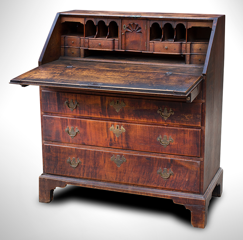 Queen Anne Slant Lid Desk, Fine Fitted Blocked and Shell Carved Interior Rhode Island, entire view 3