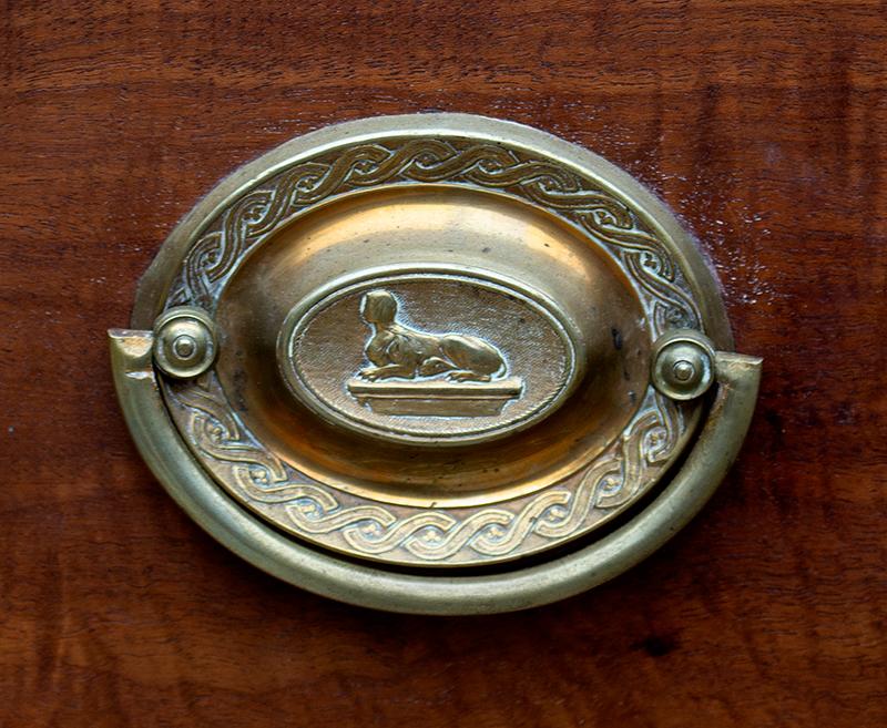 Linen Press, Swan's Neck Pediment, Inlayed, Mid-Atlantic, Outstanding Original Brasses, detail view 1