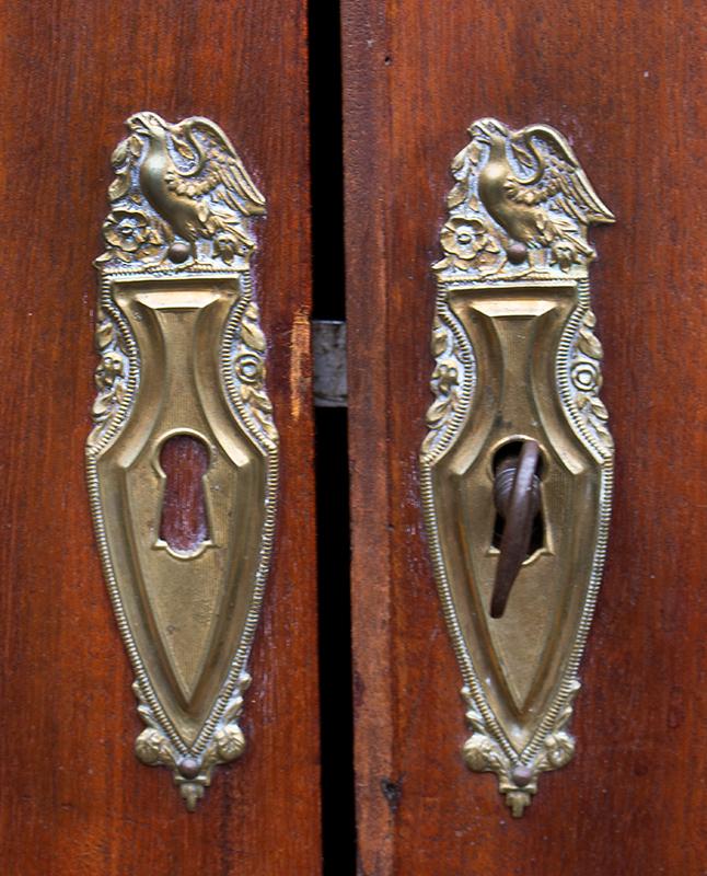 Linen Press, Swan's Neck Pediment, Inlayed, Mid-Atlantic, Outstanding Original Brasses, detail view 2