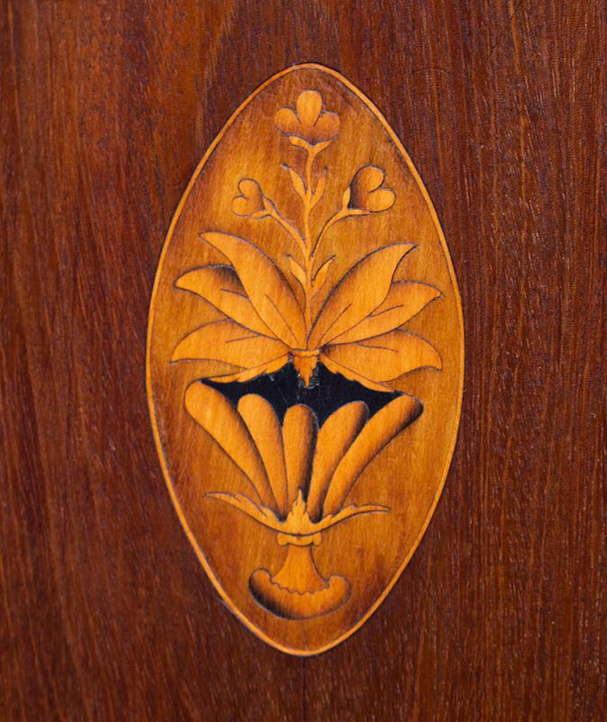 Linen Press, Swan's Neck Pediment, Inlayed, Mid-Atlantic, Outstanding Original Brasses, detail view 3