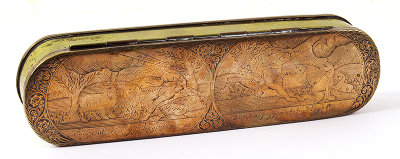 Dutch, Engraved Tobacco Box, Adam, and Eve, Engraved Top and Bottom, Inscription Netherlands, side 1