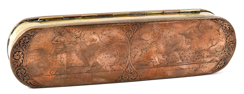 Dutch, Engraved Tobacco Box, Adam, and Eve, Engraved Top and Bottom, Inscription Netherlands, side 2