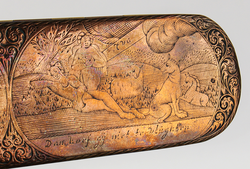 Dutch, Engraved Tobacco Box, Adam, and Eve, Engraved Top and Bottom, Inscription Netherlands, detail view 1