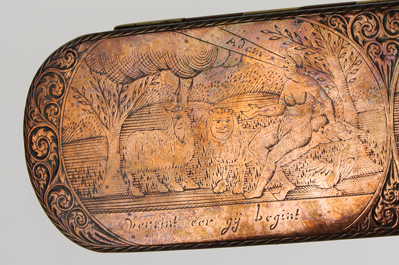 Dutch, Engraved Tobacco Box, Adam, and Eve, Engraved Top and Bottom, Inscription Netherlands, detail view 2