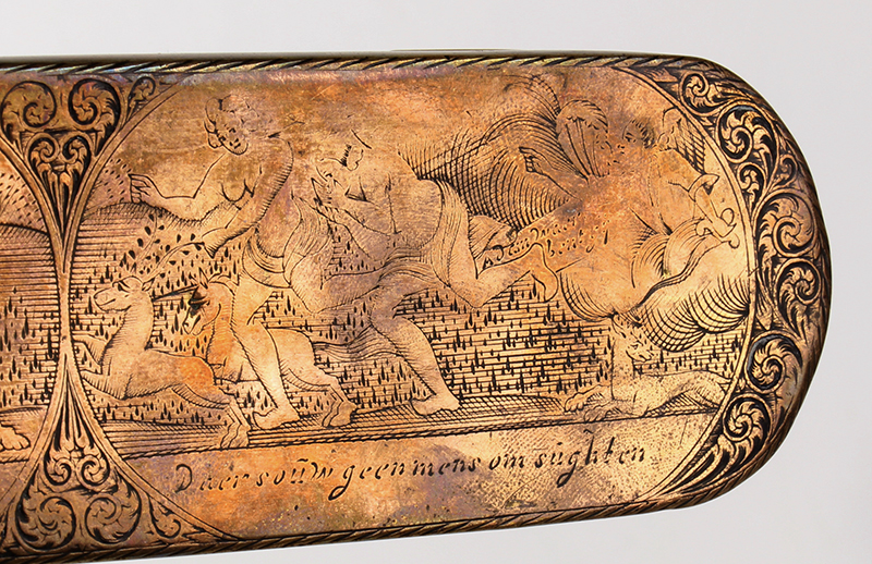 Dutch, Engraved Tobacco Box, Adam, and Eve, Engraved Top and Bottom, Inscription Netherlands, detail view 3