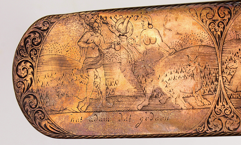 Dutch, Engraved Tobacco Box, Adam, and Eve, Engraved Top and Bottom, Inscription Netherlands, detail view 4