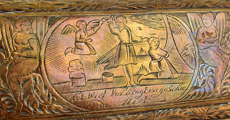 Tobacco Box, Dutch, Engraved, detail view 1