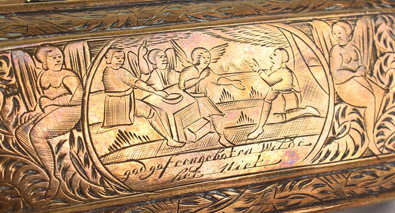 Tobacco Box, Dutch, Engraved, detail view 2
