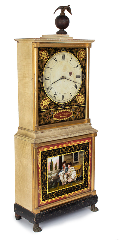 Aaron Willard Shelf Clock, Bride's Model, White Paint, Parcel Gilt, Boston, RARE White, the color of purity, appropriate for a newly married bride…, entire view 2