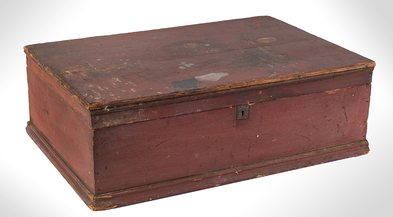 Early New England Tabletop Valuables Box, Bible Box, Original Red, entire view 1
