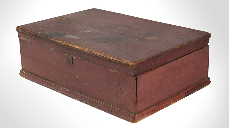 Early New England Tabletop Valuables Box, Bible Box, Original Red, entire view 3