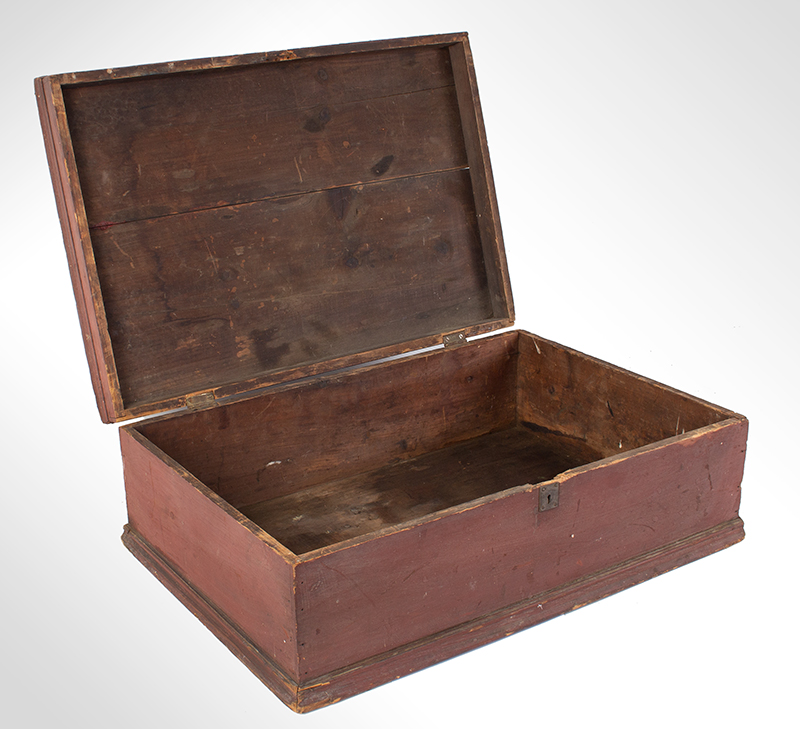 Early New England Tabletop Valuables Box, Bible Box, Original Red, entire view 4