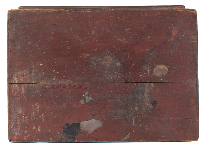 Early New England Tabletop Valuables Box, Bible Box, Original Red, top view