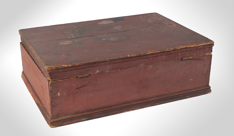 Early New England Tabletop Valuables Box, Bible Box, Original Red, entire view 5