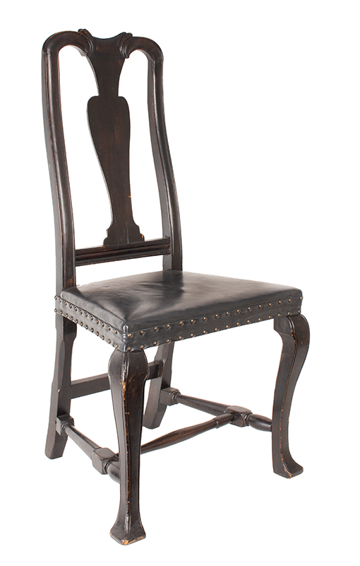 Antique, Queen Anne Side Chairs, Assembled, Leather Seats, Vasiform Splats New England, Possibly New Hampshire, circa 1725-1750, chair 2 view 1