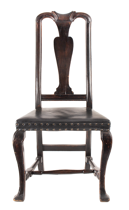 Antique, Queen Anne Side Chairs, Assembled, Leather Seats, Vasiform Splats New England, Possibly New Hampshire, circa 1725-1750, chair 2 view 2