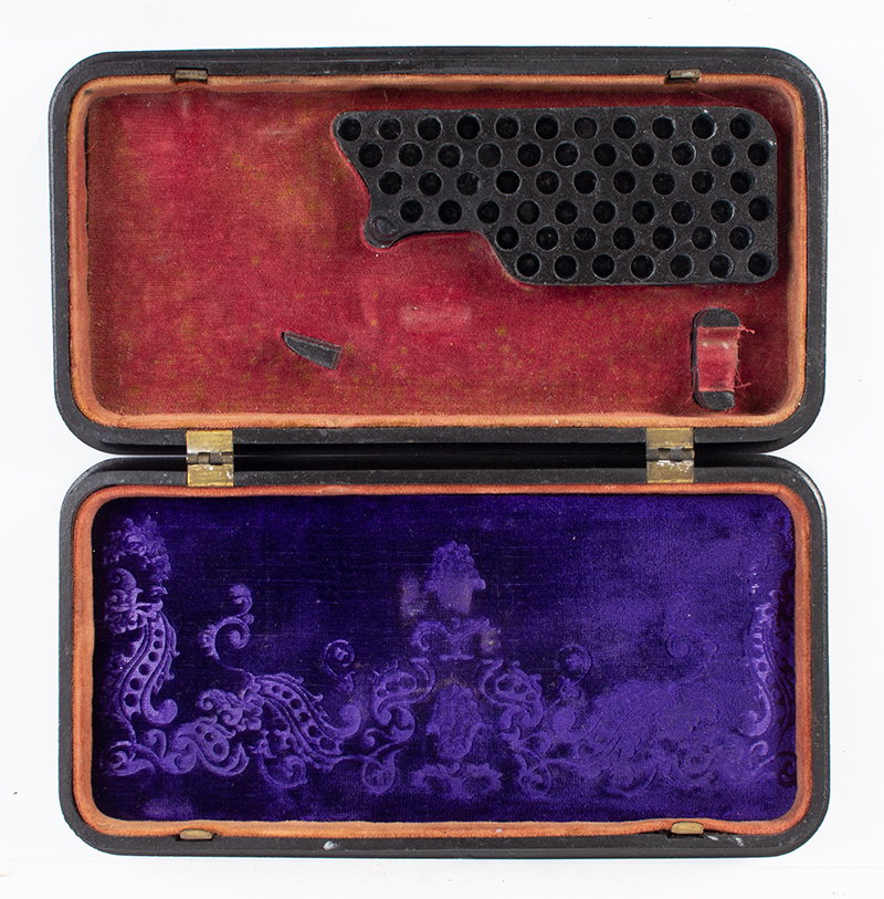 Union Gutta Percha Case, Stand of Flags, SCARCE Made For Smith & Wesson' s 1st Model Revolver. Case Manufactured by Littlefield & Parsons, Florence, Massachusetts, interior view