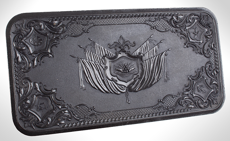 Union Gutta Percha Case, Stand of Flags, SCARCE Made For Smith & Wesson' s 1st Model Revolver. Case Manufactured by Littlefield & Parsons, Florence, Massachusetts, entire view 3