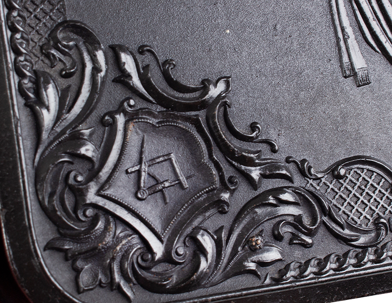 Union Gutta Percha Case, Stand of Flags, SCARCE Made For Smith & Wesson' s 1st Model Revolver. Case Manufactured by Littlefield & Parsons, Florence, Massachusetts, detail 2