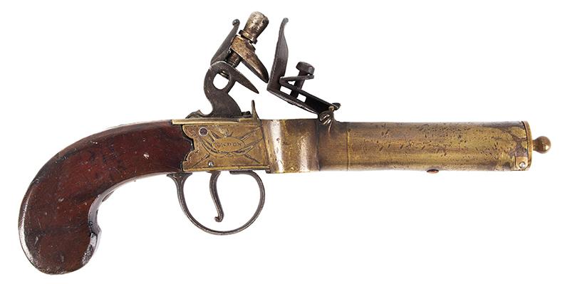 Georgian English Flintlock Tinder Lighter, Pistol Form by John Burgon, London, right facing