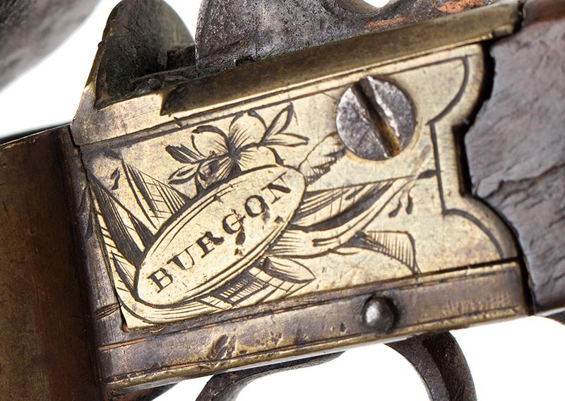 Georgian English Flintlock Tinder Lighter, Pistol Form by John Burgon, London, detail view 1