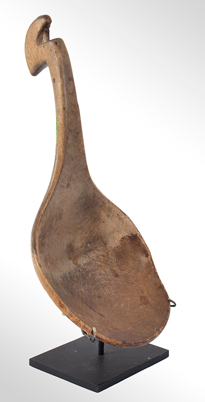 Native American Carved Wooden Effigy Ladle, Scoop, Beaver Great Lakes or Prairie, entire view 1