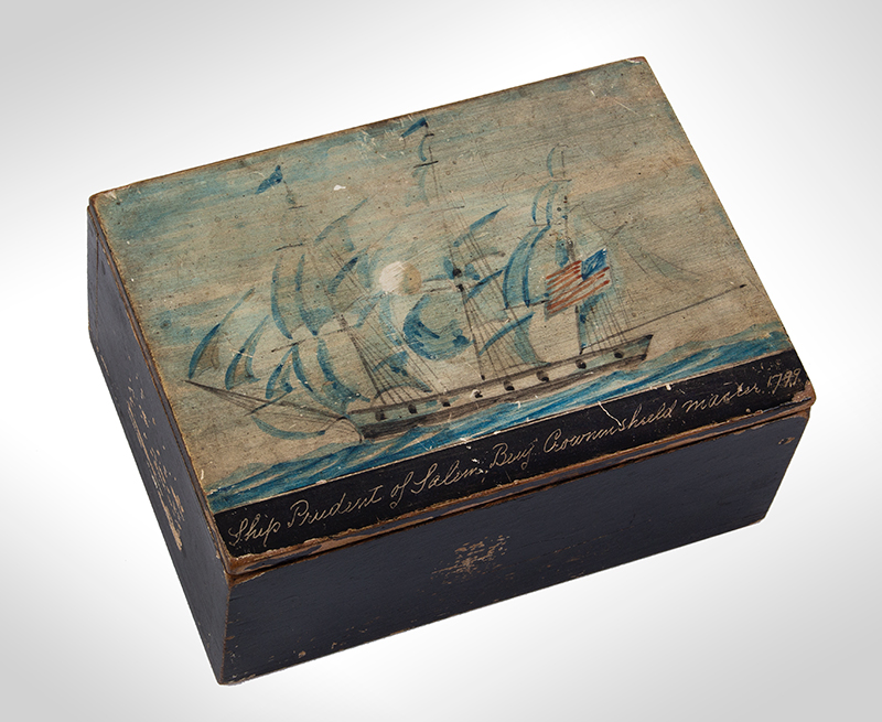 Nautical Trinket Box, Hand Painted Decorated Lid, Ship Prudent of Salem Benj. Crowninshield, Master 1799, entire view 1