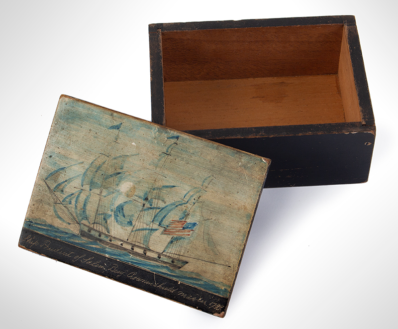 Nautical Trinket Box, Hand Painted Decorated Lid, Ship Prudent of Salem Benj. Crowninshield, Master 1799, entire view 2