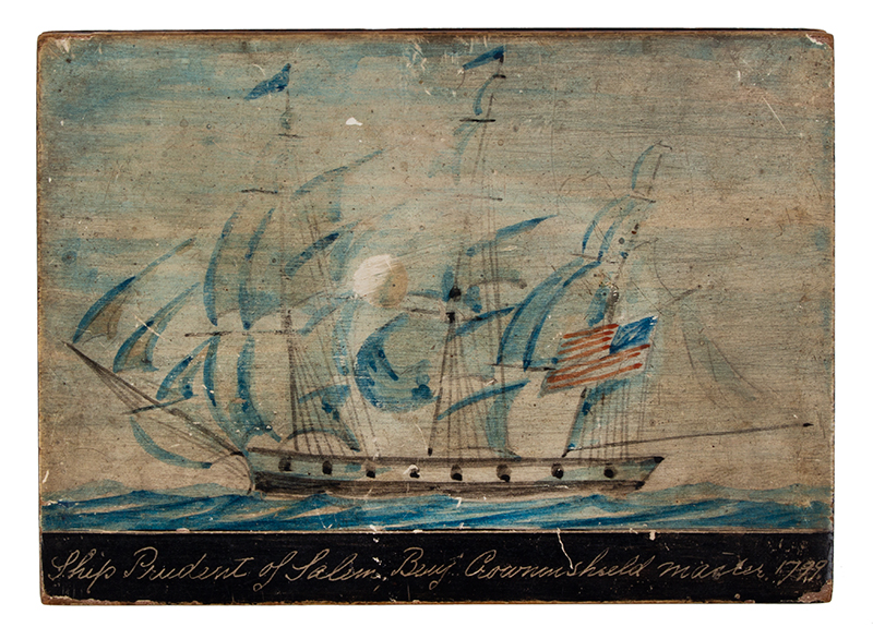 Nautical Trinket Box, Hand Painted Decorated Lid, Ship Prudent of Salem Benj. Crowninshield, Master 1799, top view