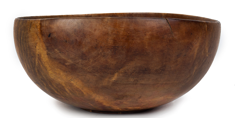 Antique Treen Bowl, Figured Cherry, Carved and Dated Foot New England, entire view 1