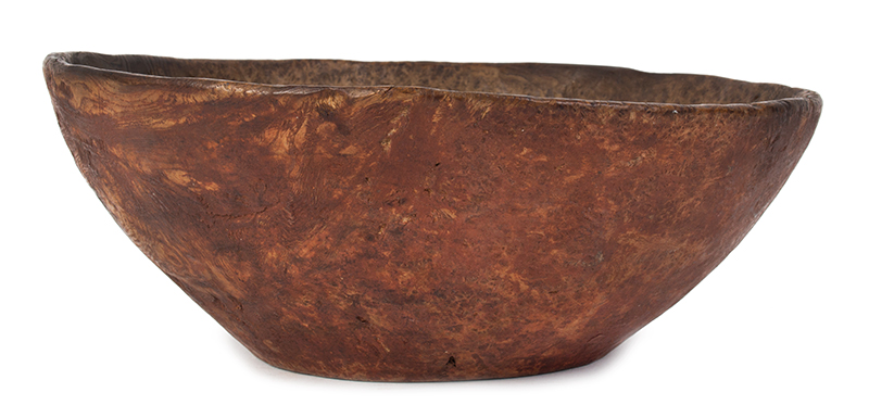 Carved Burl Bowl, Red Paint, entire view 1