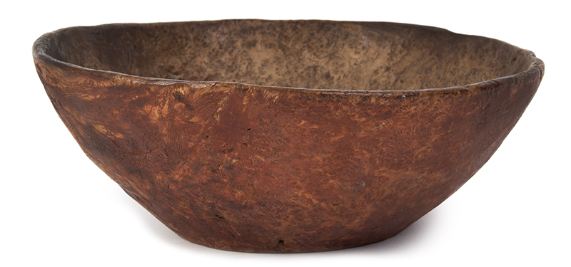 Carved Burl Bowl, Red Paint, entire view 2