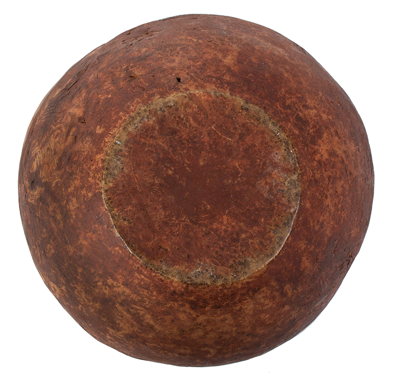 Carved Burl Bowl, Red Paint, bottom view