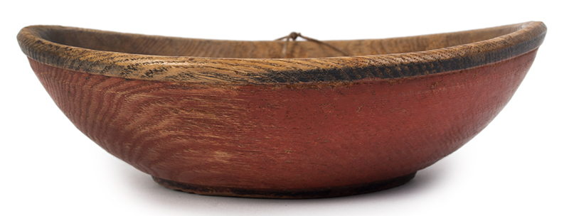 Treen Bowl, Red and Black Paint, Small Size New England, entire view 1