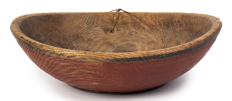 Treen Bowl, Red and Black Paint, Small Size New England, entire view 2