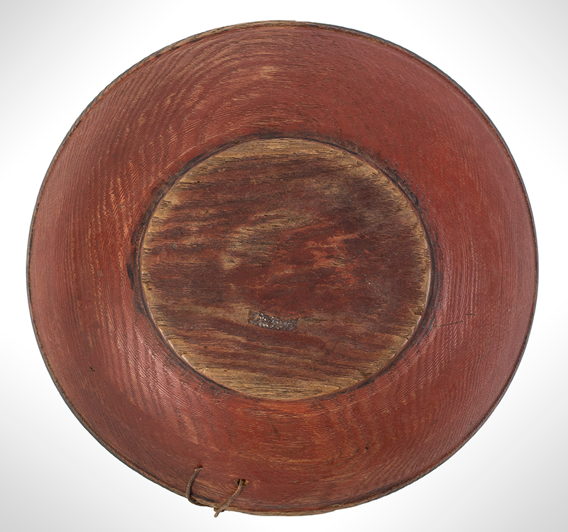 Treen Bowl, Red and Black Paint, Small Size New England, bottom view