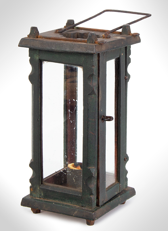 Candle Lantern, Wood and Glass, Original Green, and Red Paint, entire view 1