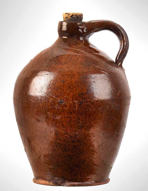 Redware Jug, Speckled and Streaked Manganese Against Orangey Red New York State, entire view 1