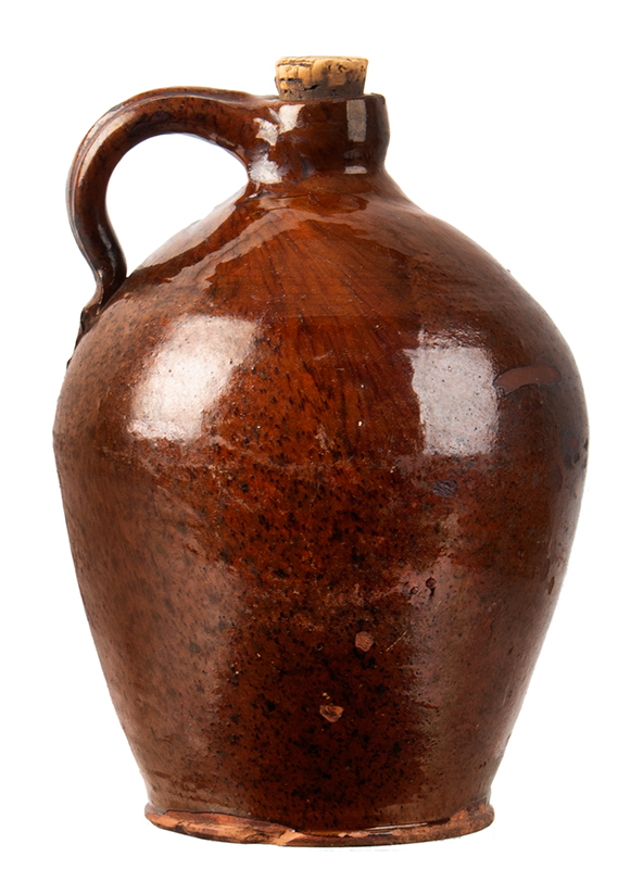 Redware Jug, Speckled and Streaked Manganese Against Orangey Red New York State, entire view 2