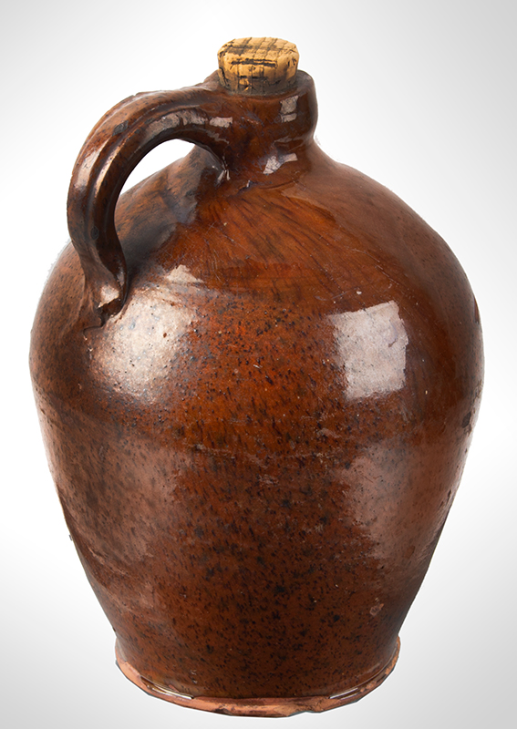 Redware Jug, Speckled and Streaked Manganese Against Orangey Red New York State, entire view 3