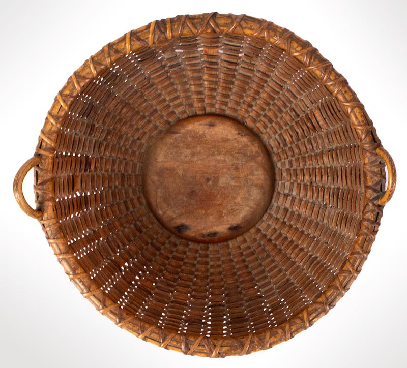 Nantucket Lightship Flat Round Basket, interior view