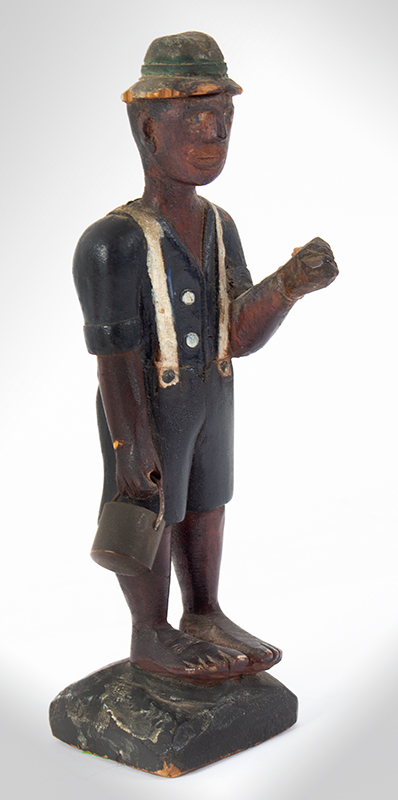Folk Art Carving, Man Carrying Pail, Original Paint Anonymous, entire view 1