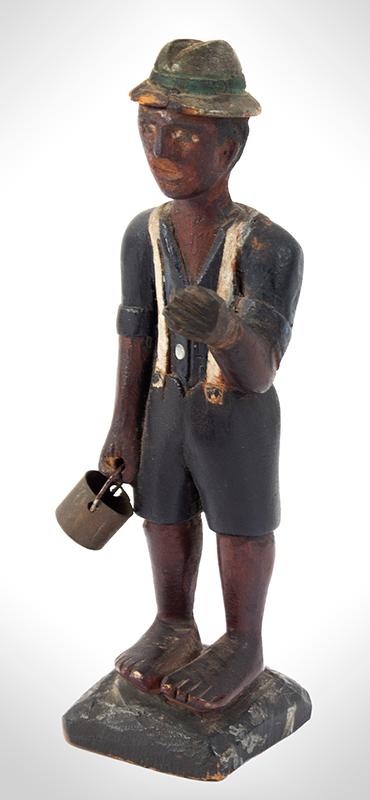 Folk Art Carving, Man Carrying Pail, Original Paint Anonymous, entire view 2