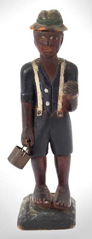 Folk Art Carving, Man Carrying Pail, Original Paint Anonymous, entire view 3